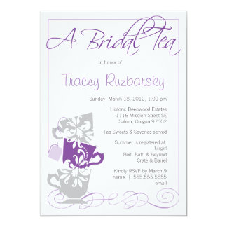 Bridal Shower Invitation - Tea  |  Purple and Gray