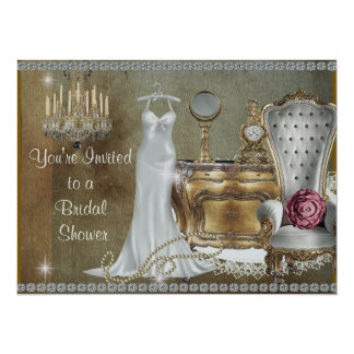 BRIDAL SHOWER INVITATION VINTAGE FAUX Wallpaper