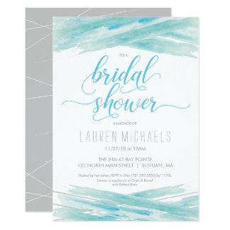 Bridal Shower Invitation, Watercolor, Blue, Silver Card