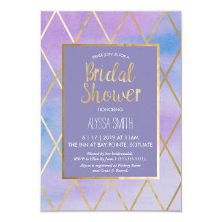 Bridal Shower Invitation - Watercolor, Purple Gold