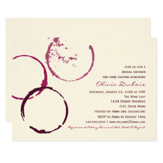 Bridal Shower Invitation   Wine Stain Rings