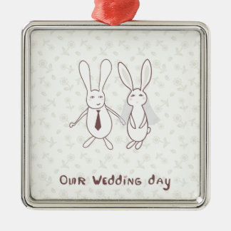 Bridal shower invitation with two cute rabbits in Silver-Colored square decoration