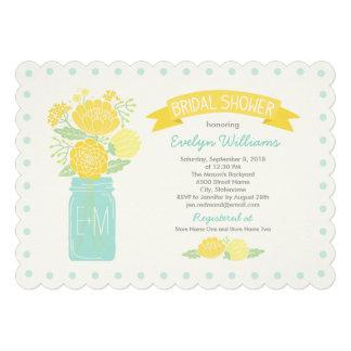 Bridal Shower Invitations Mason Jar Bouquet Custom Invitations