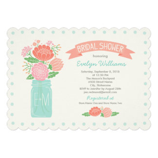 Bridal Shower Invitations Mason Jar Bouquet Personalized Invitation