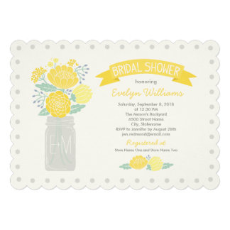 Bridal Shower Invitations Mason Jar Bouquet Cards