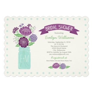 Bridal Shower Invitations Mason Jar Bouquet Personalized Invitations