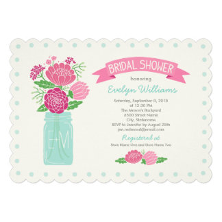 Bridal Shower Invitations Mason Jar Bouquet Invite
