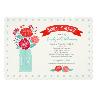 Bridal Shower Invitations Mason Jar Bouquet Announcements