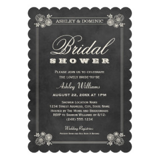 Bridal Shower Invitations Vintage Chalkboard Personalized Invites