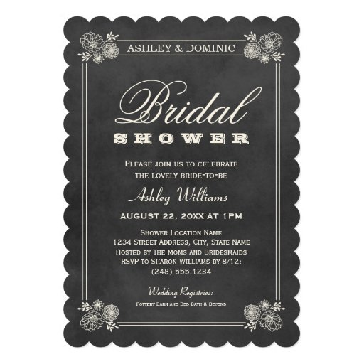 Bridal Shower Invitations | Vintage Chalkboard Personalized Invites