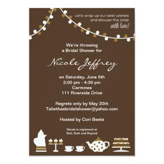 Bridal Shower Invite Chocolate Brown, Tea Lights