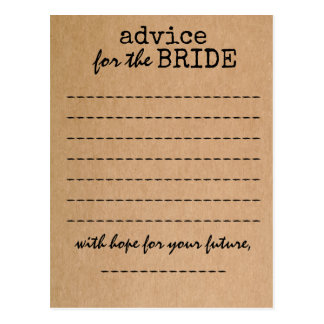 Bridal Shower Kraft Advice Card