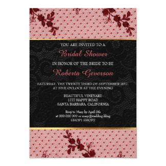 Bridal Shower Luxury Gold Black Pink Lace Floral Card