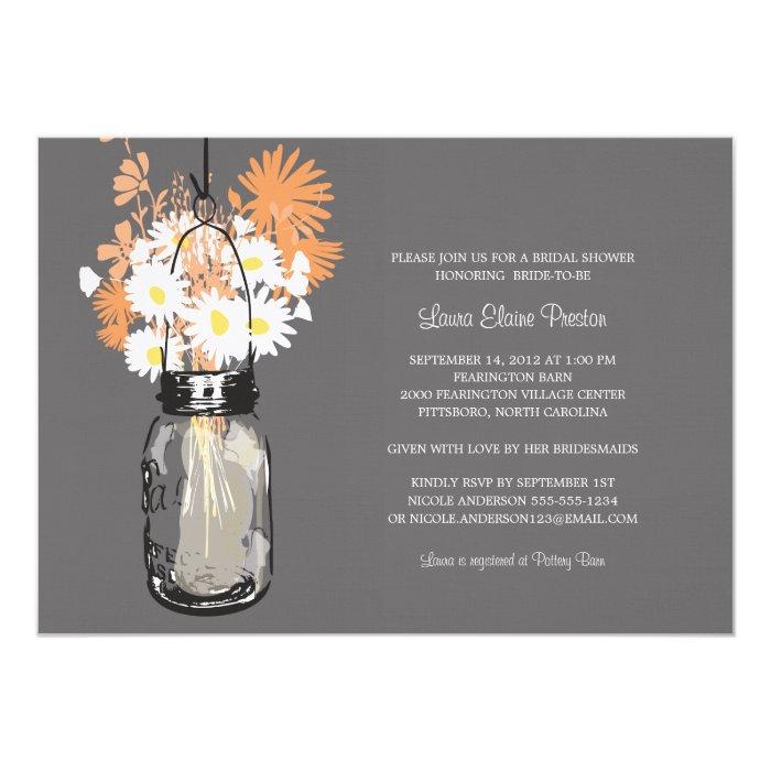Bridal Shower Mason Jar and Wildflowers 13 Cm X 18 Cm Invitation Card