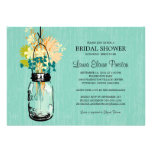 Bridal Shower Mason Jar and Wildflowers Personalized Announcements