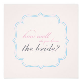 "bridal shower memory game 5.25"" square invitation card"