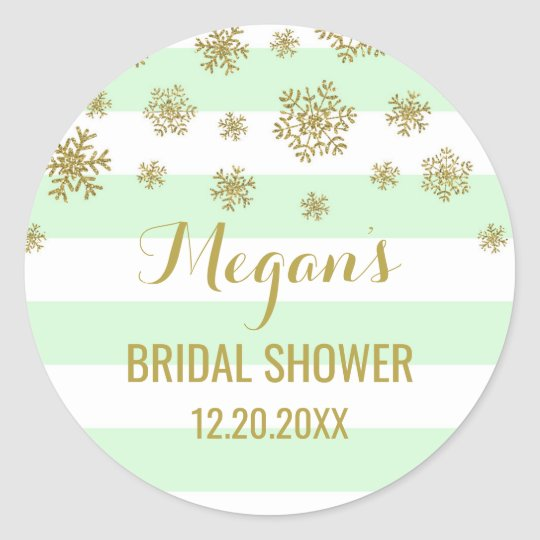Bridal Shower Mint Stripes Gold Snow Winter Classic Round Sticker