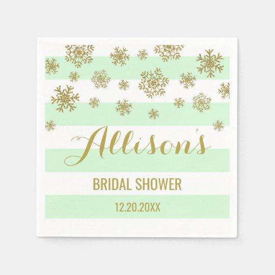 Bridal Shower Mint Stripes Gold Snow Winter Disposable Napkins
