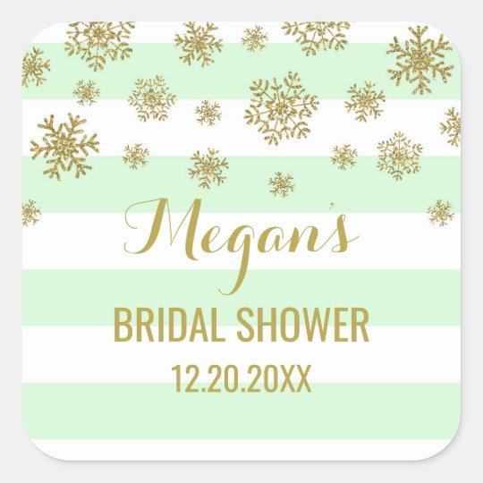 Bridal Shower Mint Stripes Gold Snow Winter Square Sticker