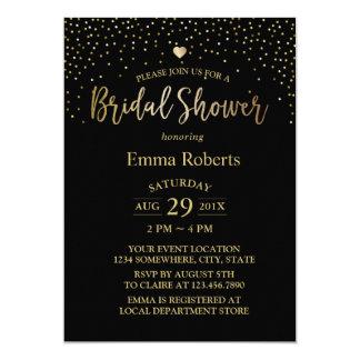 Bridal Shower Modern Black & Gold Confetti Card