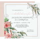 Bridal Shower Modern Floral Eucalyptus Watercolor Card