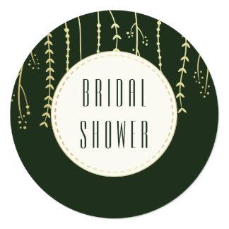 Bridal Shower | Modern Golden Fronds on Dark Green Card
