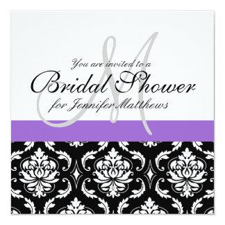 Bridal Shower Monogram Damask Invitation Purple