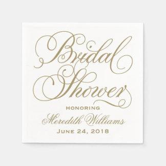 Bridal Shower Napkins | Antique Gold Disposable Serviette