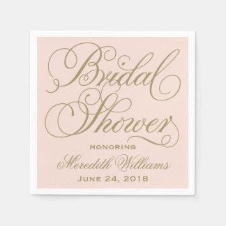 Bridal Shower Napkins   Blush Pink + Antique Gold Disposable Serviette