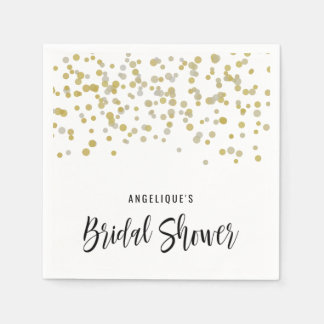 Bridal Shower Napkins Faux Gold Confetti Custom Disposable Serviettes