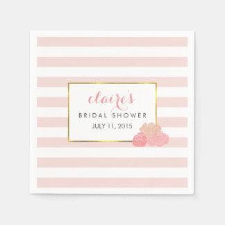 Bridal Shower Napkins | Pink Stripe & Blush Peony Paper Serviettes