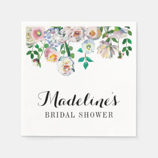 Bridal Shower Napkins Watercolor White Rose Paper Napkin