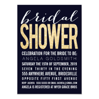 Bridal Shower Navy Gold Glitter Typography 11 Cm X 16 Cm Invitation Card