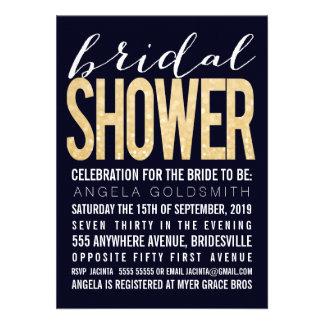 Bridal Shower Navy Gold Glitter Typography Personalized Invitation