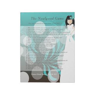 Bridal Shower Newlywed Game - Turquoise & Choc Notepad