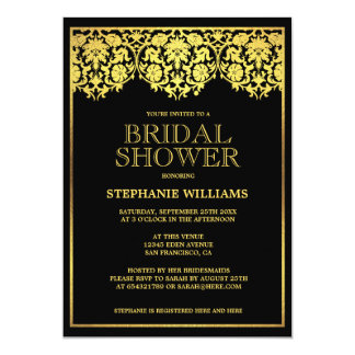 Bridal Shower | Ornate Gold Art Deco Damasks 13 Cm X 18 Cm Invitation Card