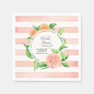 Bridal Shower Party Pink Grapefruit Oranges Citrus Disposable Serviettes