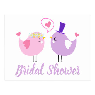 Bridal Shower Pink And Purple Lovebirds Wedding Postcard