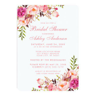 Bridal Shower Pink Blush Floral Invitation PRS