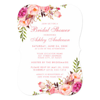 Bridal Shower Pink Blush Floral Invitation PSB