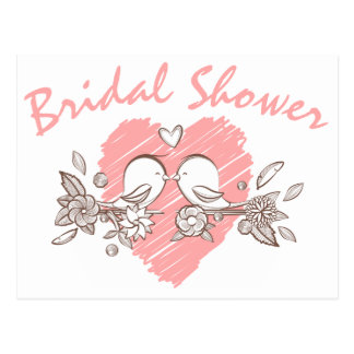 Bridal Shower Pink Heart Lovebirds Invitation Postcard