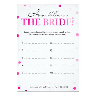 Bridal Shower Pink How Old Was the Bride Game Card