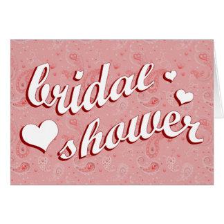bridal shower : Pink Paisley : Greeting Card