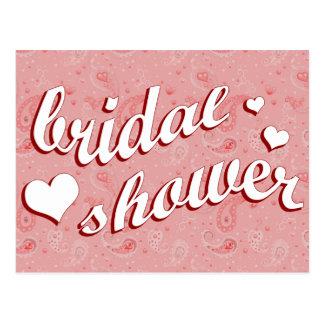 bridal shower : Pink Paisley : Postcard