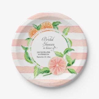 Bridal Shower Pink Striped Citrus Orange Art Paper Plate