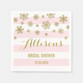 Bridal Shower Pink Stripes Gold Snow Winter Disposable Napkins