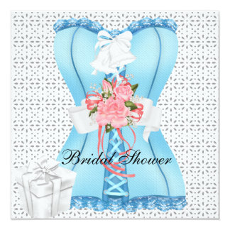 Bridal Shower Pink Teal White Corset Roses Flower Personalized Announcement