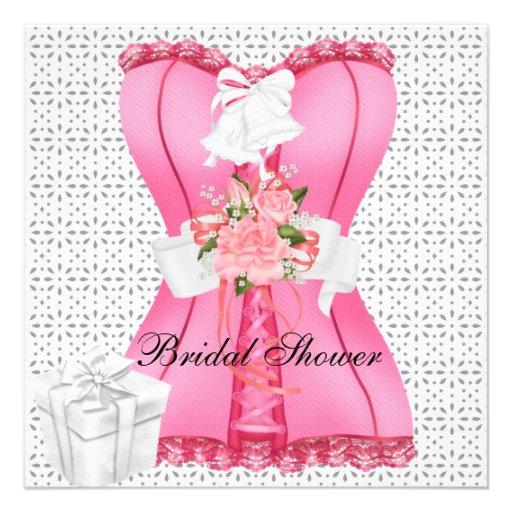Bridal Shower Pink White Corset Roses Flower Custom Invites
