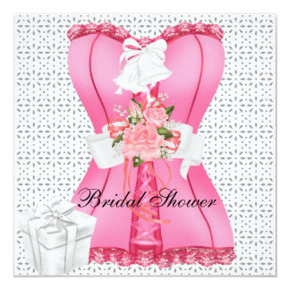 Bridal Shower Pink White Corset Roses Flower 13 Cm X 13 Cm Square Invitation Card