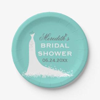 Bridal Shower Plates | Elegant Wedding Gown 7 Inch Paper Plate